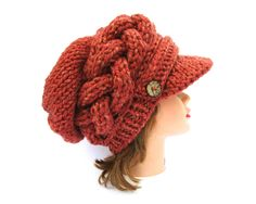 Knit Newsboy Cap - Slouchy Hat With Brim- Cable Knit Hat With Buttons - Brimmed Beanie - Women's chunky hat - Tangerine Cap by BettyMarieJones on Etsy
