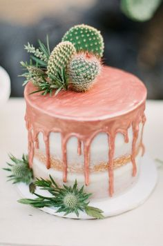rose gold and cacti topped drip cake