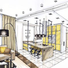 interior design handrendering