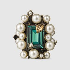 Gucci Ring With Crystal and Pearls, $875; gucci.com   - ELLE.com