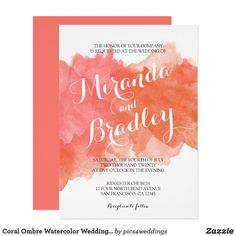 Shop Coral Watercolor Vow Renewal Invitations created by Personalize it with photos & text or purchase as is! Vow Renewal Invitations, Orange Wedding Invitations, Watercolor Wedding Invitations, Invites, Coral Wedding Themes, Orange And Pink Wedding, Wedding Navy, Wedding Vows