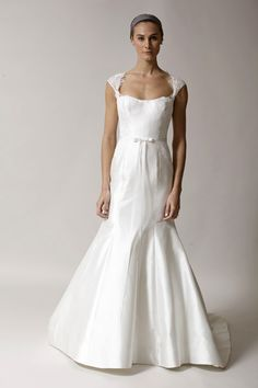 """Alyne """"Edie"""" Fit and Flare raw silk gown with lace cap sleeves http://www.christiannebrunelle.com/English/Alyne-wedding-dresses/"""