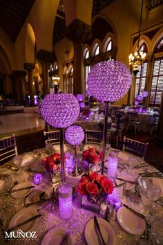 Purple Wedding Flowers - From soft romantic bridal bouquets to the strikingly beautiful wedding centerpieces, here are 46 stunning wedding flower ideas for you to get inspired, happy pinning! Silver Centerpiece, Candle Wedding Centerpieces, Reception Decorations, Event Decor, Centerpiece Ideas, Table Decorations, Mod Wedding, Purple Wedding, Wedding Table