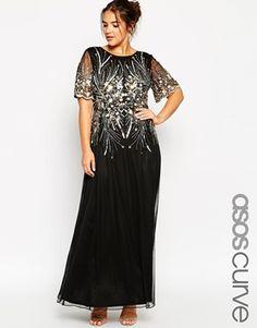 ASOS CURVE RED CARPET Gold & Black Sparkle Mesh Maxi Dress