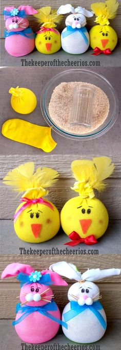 Easter Sock Friends- I feel like I could do the yellow ones with balloons and make stress balls. hmmm.