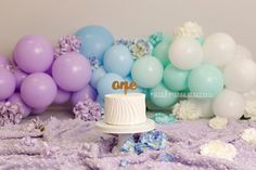 Simple balloon banner with florals cake smash set up for first birthday photos First Birthday Photos, Boy Birthday, Balloon Banner, Cake Smash, First Birthdays, Florals, Balloons, Cakes, Studio