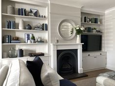 Our Living Room Alcoves Project with Wickes Living Room Shelves, Shelves In Bedroom, Living Room With Fireplace, Living Room Paint, Living Room Grey, Living Room Decor, Dining Room, Alcove Cabinets, Mdf Cabinets
