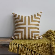 Metallic gold & off-white handprinted organic hemp pillow cover 20x20. $70.00, via Etsy - Melongings