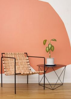 Rod+Weave Chair Seating: Chair by Eric Trine: Rod+Weave chair and octahedron side table. Murs Oranges, Coral Walls, Coral Painted Walls, Peach Walls, Paint Walls, Woven Chair, Deco Design, Color Of The Year, Colorful Interiors