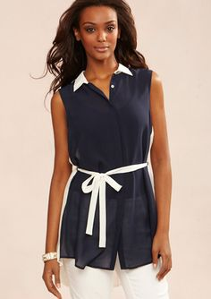 MOON Pleated-Back Tunic with Tie Waist