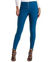 High-Waisted Skinny Trousers with Zipper