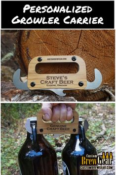 This growler carrier is made from stainless steel and has laser engraved wood on the handle that can be personalized or branded. Easily carry two growlers in each hand. It also has a bottle opener as well.