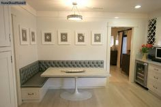 banquette with pedestal table and drawers L shape