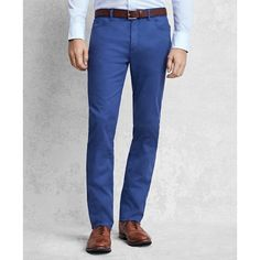 Brooks Brothers Golden Fleece® Five-Pocket Trousers ($298) ❤ liked on Polyvore featuring men's fashion, men's clothing, men's pants, men's casual pants, royal blue, mens royal blue pants, mens stretch pants, mens five pocket pants, mens fleece pants and mens chino pants