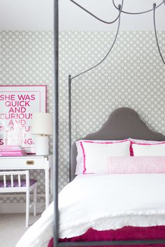 Gray and pink girl's bedroom: http://www.stylemepretty.com/living/2015/07/29/the-65-most-beautiful-style-me-pretty-interiors/