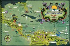 Terres Caraibes: beautiful map of the Caribbean and portions of Central and northernmost South America.