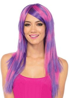 The Long Striped Chesire Cat Wig by Morris Costumes is a beautiful wig that will make any character a bit more colorful! Straight layers of pink and purple are perfect Chesire cat colors or a great fashion look. Costume Sexy, Costume Wigs, Cat Costumes, Cosplay Wigs, Halloween Costumes, Costume Ideas, Cosplay Ideas, Cosplay Costumes, Cheshire Cat Makeup