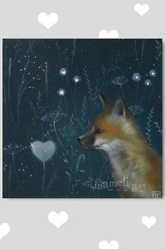 Fox illustration PRINT from Original Acrylic by inameliart on Etsy