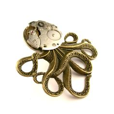 Monster Octopus Pin   The Brainiacs Octopus Vintage by SteamSect, $50.00