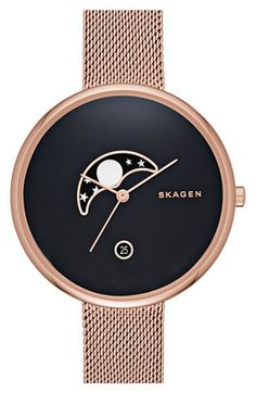 Skagen+'Gitte+-+Moon+Phase'+Watch,+38mm+available+at+#Nordstrom I don't normally wear a watch...this I would make an exception