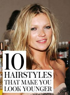 10 Hairstyles That Make You Look 10 Years Younger: News flash! Your youth fix doesn't have to come in a bottle—or a needle. Your hairstyle could actually take years off (or add them to) your look. Don't believe us? Check out these celebrity hairstyles—each one gorgeous, of course, but also looking older due to certain overly perfect hairdos. Anti-aging tip number one? Mess it up a little. | allure.com