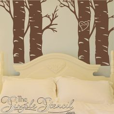 Trees are all the rage in vinyl wall decor because the decal, stickers, graphics are so easy to install and are removable. This new set matches our existing Fall Trees but include your choice of initials in a heart centered on tree and perfect for bedroom or wedding decorating.