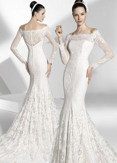 Vestidos de novia sirena de amplio escote V, delantero y espalda.