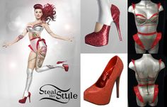 Katy Perry: Red Glitter Pumps | Steal Her Style - custom bra and shorts by Syren Latex