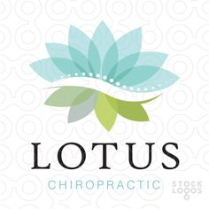 Logo Sold Modern, soft and beautiful logo design that combines a lotus flower and a chiropractic curved spine that divides the middle of the flower. The flower bloom on the top portion with the leaves represented at the bottom half.