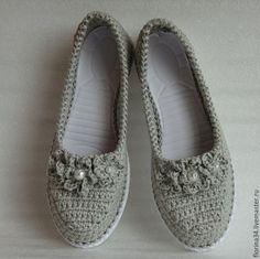 Обувь ручной работы. Ярмарка Мастеров - ручная работа. Купить Балетки уличные Благородный лен, р.39, серый. Handmade.