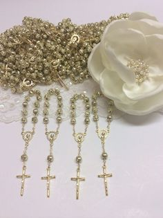 25 pcs Pearl Decade rosaries First communion por AVAandCOMPANY