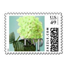 Green Hydrangea on Blue Background RSVP Postage