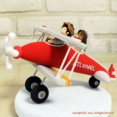 Cute couple in the red plane wedding cake topper decoration gift by annacrafts, $250.00