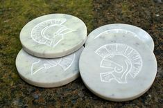 Round stone coasters Natural white Marble hand carved by SAGaStone