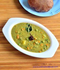 Karnataka style mixed vegetable sagu recipe - Its a good side dish for poori, set dosa, rava idli Vegetarian Gravy, Vegetarian Recipes Easy, Curry Recipes, Vegetable Recipes, Indian Food Recipes, Cooking Recipes, Healthy Recipes, Easy Cooking, Lunch Recipes
