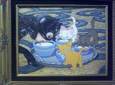 Catwoman enjoying a snack with the Aristocats!