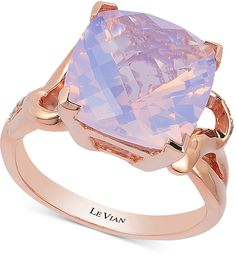 Le Vian Lavender Quartz (5-9/10 ct. t.w.) and #Diamond (1/10 ct. t.w.) Ring in 14k Rose Gold