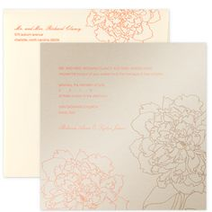 Duchess - The celebration begins the moment your guests open their invitation with this festive Champagne shimmer card! Printed with intricate floral line drawings of taupe and coral, announces your ceremony details shown in soft Coral ink. The invite slips neatly into the Cream wallet-flap envelope, which when printed with your return address offers guests a peek at the floral motif! A response card of shimmering pink Bahama cardstock repeats the design and is accompanied by a Cream…