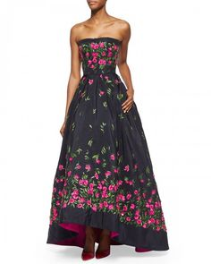 Oscar De La Renta Strapless Floral Embroidered High Low Gown 14 Navy | Dress, Frock and Clothing