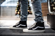 VANS digging these hi tops Vans Sneakers, Converse, Vans Sk8 Hi Reissue, Vans Off The Wall, Pharrell Williams, Bmx, Men's Shoes, Street Wear, Footwear
