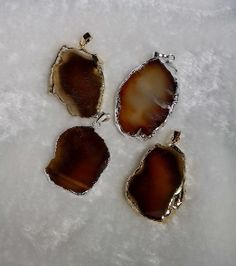 5pcs/lot Freeform Gold plated and Silver Plated Edge Agate Slices Pendants Charms Brown $27.20