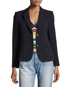 ALICE AND OLIVIA GREYSON TWO-BUTTON BLAZER, NAVY. #aliceandolivia #cloth #