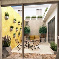 Proyecto Realizado por OH Visualizacion Courtyard Design, Backyard Garden Design, Balcony Design, Backyard Patio, Small Patio Design, Garden Bed, Design Exterior, Interior And Exterior, Outdoor Spaces