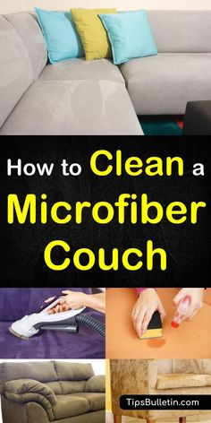 How to clean a microfiber couch, including tips on cleaning the suede sofa with vinegar, rubbing alcohol,windex, dawn or baking soda. Especially how to get simple stains out quickly. #cleansofa #suede #couch