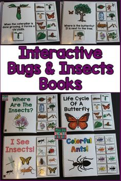 Four interactive books all about bugs and insects These are perfect for getting students engaged and participating The books integrate science skills with language develo. Interactive Books, Interactive Activities, Science Activities, Science Centers, Science Lessons, Teaching Science, Teaching Resources, Teaching Special Education, Autism Teaching