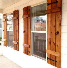New exterior farmhouse shutters board and batten ideas Window Shutters Inside, Outdoor Shutters, Cedar Shutters, Farmhouse Shutters, Rustic Shutters, Diy Shutters, Repurposed Shutters, Wooden Shutters Exterior, Country Shutters