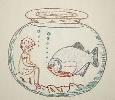 pricilla waits for drier times - embroidery by Porterness, via Flickr