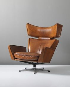 Arne Jacobsen; Leather Desk Chair Design - 'The Ox' lounge chair, circa 1966
