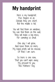 Handprint Poem | Mother\'s Day poem - My Handprint | KIDSPOT THINGS TO DO: Seasonal occ ...: