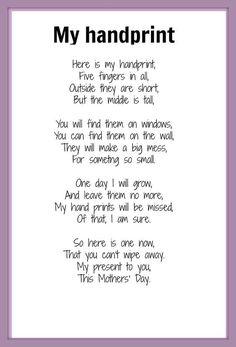 Handprint Poem   Mother's Day poem - My Handprint   KIDSPOT THINGS TO DO: Seasonal occ ...: